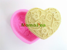 Mom&Pea 0005 Knitted Flower Heart Shaped Silicone Soap Mold Cake Decoration Fondant Cake 3D Mold Food Grade Silicone Mould