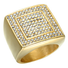 ZMZY Luxury Square New Design Gold Color Clean Crystal Rings For Men 316L Stainless Steel Ring Jewelry(China)