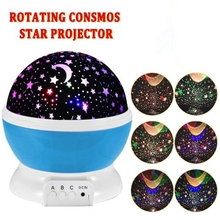 Room Novelty Night Light Projector Lamp Rotary Flashing Starry Star Moon Sky Star Projector Kids Children Baby Abajur Infantil(China)
