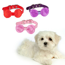1pcs Dog Bow pet collar Cute PU Dog Puppy  Pet Animals Cat Leads Collars  Pets Supplies With Cheap Price