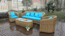 4-pcs garden rattan sofa set Pastoralism Home Indoor / Outdoor Rattan Sofa For Living Room(China)