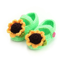 0-12M Colorful Sunflower Confortable Baby Prewalker Shoes First Walkers Newborn Baby Girl Warm Crib Shoes Crochet Knit Boots(China)