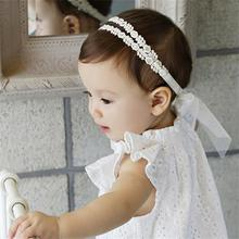 2pcs/lot Korean Style Lace Headbands Princess Toddlers Hairbands Comfortable Cute Headbands For Girls Free Shipping White Pink