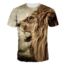 Cotton T-Shirts 3D Lion Head Men T Shirt Short Sleeve Slim Fit Tops Tee Male tshirt homme 2017 Summer blusa camiseta masculina