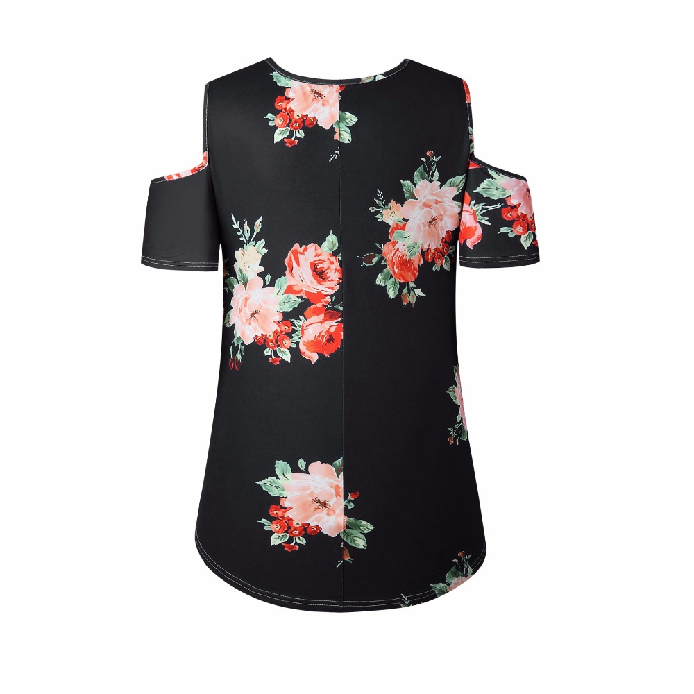 New 2018 Spring Summer Tops Women Short Sleeve Sexy Casual T-shirt Print Slim Off Shoulder T-shirt Flowers Print Tops T-shirt 12