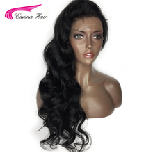 Carina Full Lace Human Hair Wigs For Black Women with Baby Hair Pre-Plucked Malaysia Body Wave Remy Hair Natural Color Wig(China)