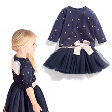 2017 New Summer Children's Boutique Clothing Set Kids Little Girls Star Print Long Sleeve Shirt Tops+Chiffon Tutu Skirts Outfits