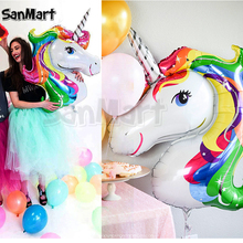 87 x 117cm Giant Unicorn Balloon Colorful Rainbow Fantasy Horse Party Girls Birthday Party Animals Foil Balloons(China)