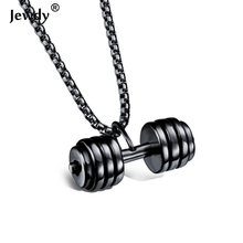 Men's Fitness Gym Jewelry Kettlebell Barbell Dumbbell Necklace Stainless Steel Sport Weightlifting Collar Bodybuilding Necklaces