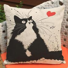 Factory Direct Supply  Latest Cartoon Cat Printing Short Soft Plush Kids Throw Pillow Cushion For Lovers Gifts