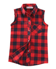 Summer Fashion Kid Boys Girls Sleeveless Plaid Shirts Tops Button Down Blouse Casual Kids Unisex Blouses Checks Vest Tops