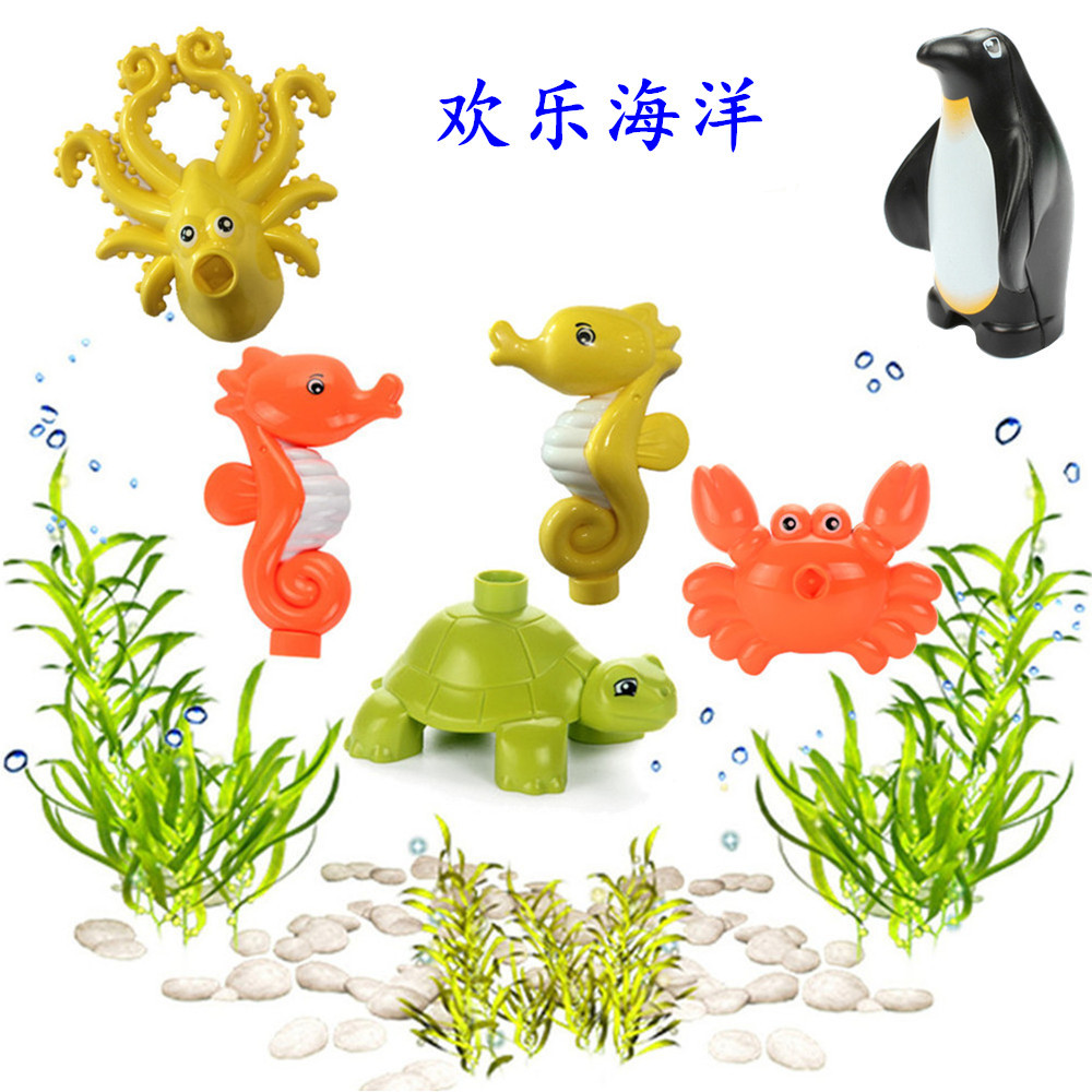 Legoings Animal Figures Big Building Blocks Ocean Animals Dolphin Shark Penguin Whale Creative Kid Toy Compatible Legoings Duplo
