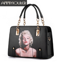 Annmouler Women Famous Brands Handbags Pu Leather Bag 3D Marilyn Monroe Shoulder Bag with Chain Printing Tote Bags
