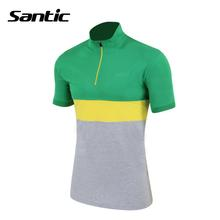 Santic Cycling Jerseys Mens Bike Riding MTB Short Sleeve Outdoor Sports leisure Clothing Green T-Shirt - Happy sports Jersey store