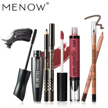 MENOW Brand Make up set 6 PCS High Quality Cosmetic American Wood Eyebrow Pencil & Lip gross & Waterproof Mascara Wholesale5417(China)