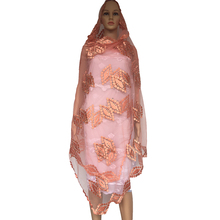 BM277! Newest African women scarfs ,Muslim Plain Embroidery net women scarf with big stones, Peach scarf , Shawls Wraps(China)