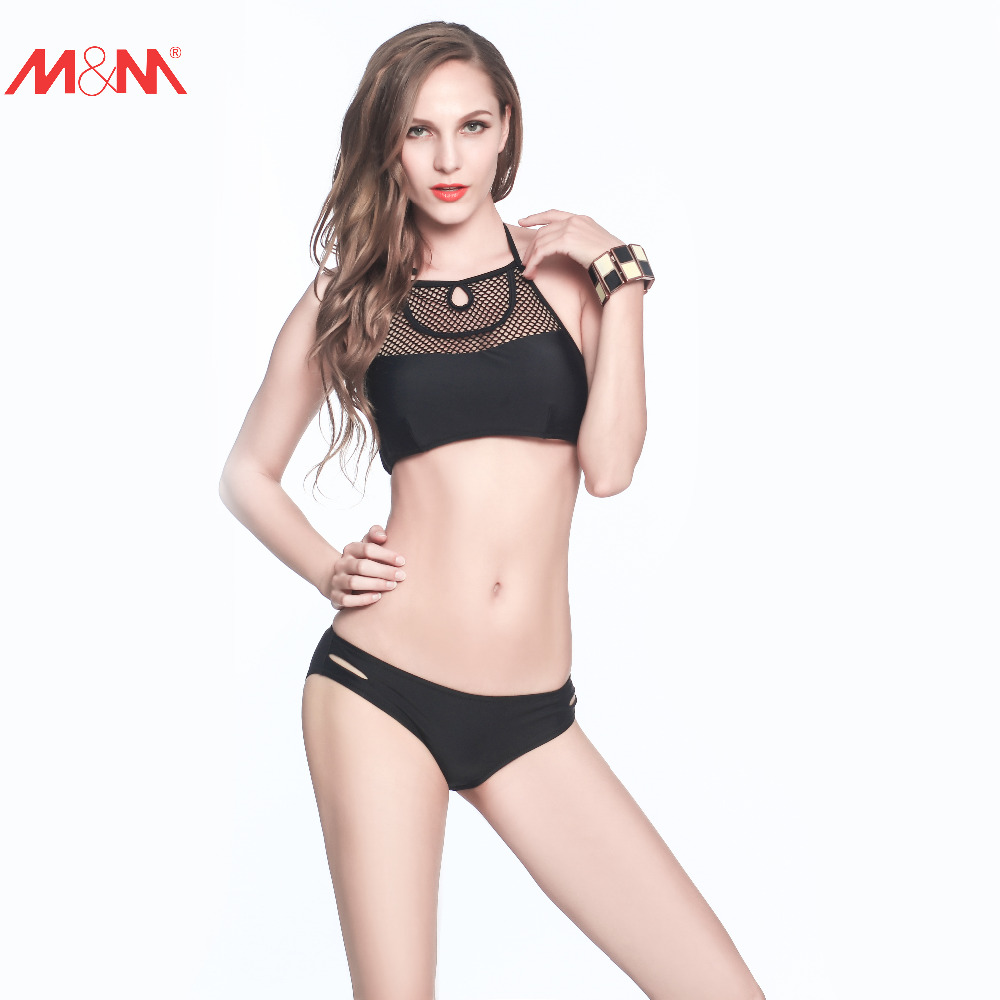 M&amp;M Hot Halter Black Bikini Set Small Low Waist Padded Beach Brazilian Sexy Halter Push Up Mesh Swimwear Strappy Bathing Suit<br><br>Aliexpress