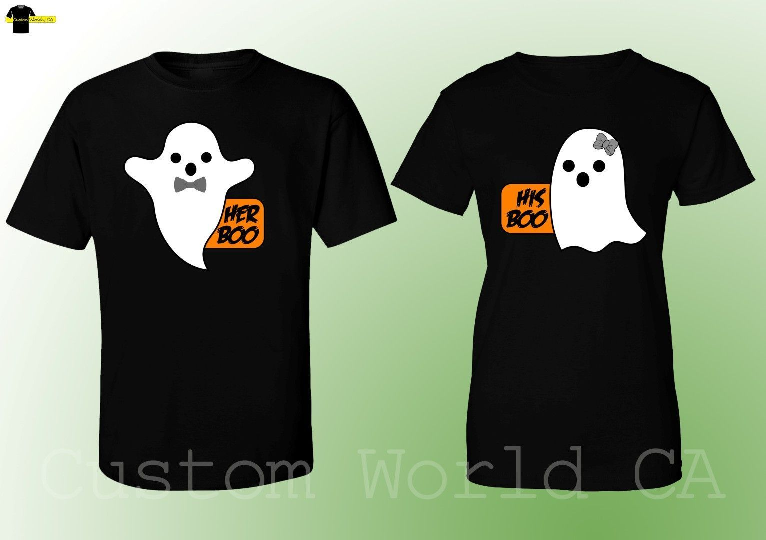 2019 Hot Sale 100% cotton Halloween Costumes His Boo Her Boo Cute Matching T Shirts Couples Scary (Black) Tee shirt