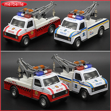 1:28 Die Cast Metal Voiture Model Pick Up Truck  With Hoisting Machine And Flashing Siren Police Rescure Car Model For All Boys