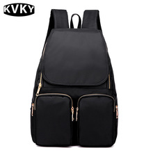 KVKY Fashion Women Softback Nylon Black Puple Blue Backpack Travel Daily College Student School Bag for Girl With Cover Backpack
