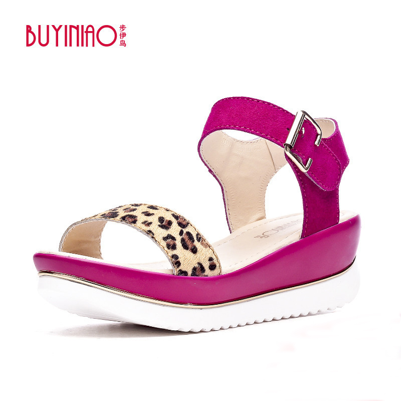 BUYINIAO Brand 2017 Summer Sweet Women Sandals Genuine Leather Sexy Leopard Slides Sandalias Mujer Wedge Sandals Sapato Feminino<br><br>Aliexpress