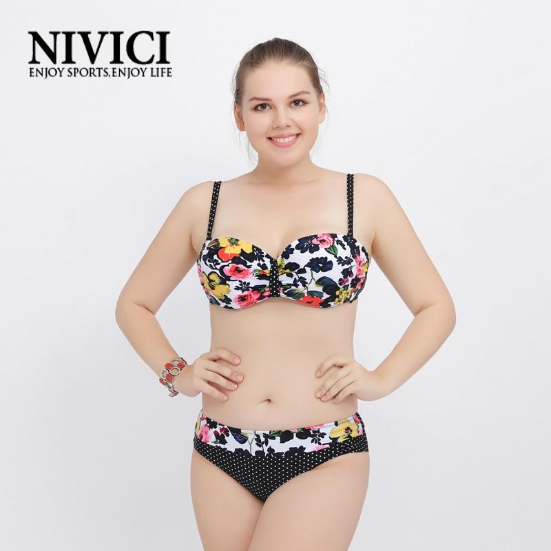 Hot floral bikinis set womens swimwear print push up swimsuit for women large size bathing suits female seaside L-4XL 2 colors<br><br>Aliexpress
