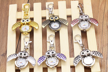 2016 Special Designed Pocket Fob Watch Mini Metal Key Ring owl Double Open Quartz Alloy Analog Watch Clock Silver Freeshipping