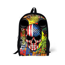 New Punk Skull Backpack for Boys Black 16inch Children Backpack Preppy Style High School Kids Book Bags Travel Pack Mochila(China)