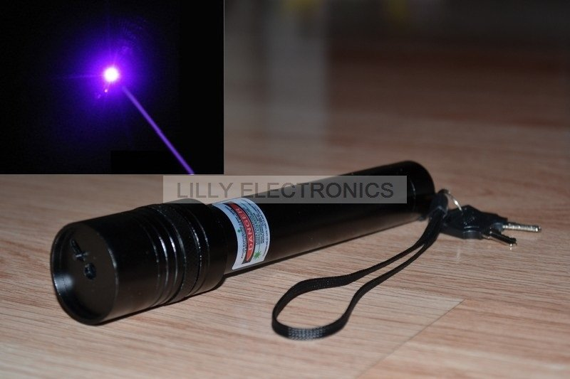 405nm 50mw  Violet/Blue Focusable Adjustable Laser Pointer Torch with Safety keys<br>