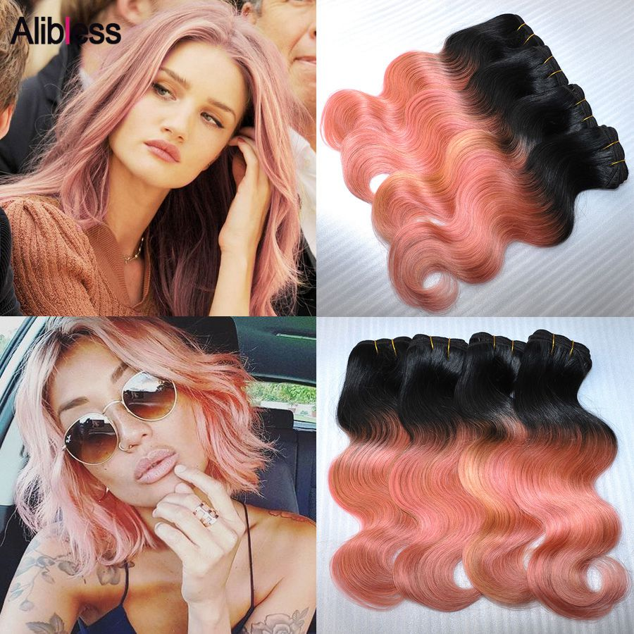 4Pcs Peruvian 7A Ombre 1B Rose-Gold body wave human hair 100g bundle,8-20 Rose Gold cheap and nice wavy ombre virgin hair weave<br><br>Aliexpress