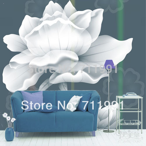 Free shipping custom-style minimalist bedroom living room bedroom wallpaper TV background wall wallpaper white rose<br>
