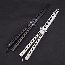 Butterfly Knife Butterfly Trainer Balisong Training Tool Stainless Steel Folding Knife Self Defense Knife White Not Sharpened