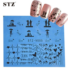 1sheets DIY Black Love Designs Nail Sticker Water Transfer Decals Decor Studs Valentine Gift Polish Gel Styling Tools STZV005