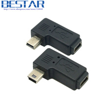 90 Degree Left & Right Angled Mini USB 5 Pin Male to Female Extension Adapter adaptor Black,Free shipping + Tracking number