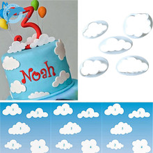 LINSBAYWU 5 pcs Fondant cutter cloud plastic cake/cookie/buscuit cutter fondant mold fondant cake decorating tools sugarcraft(China)