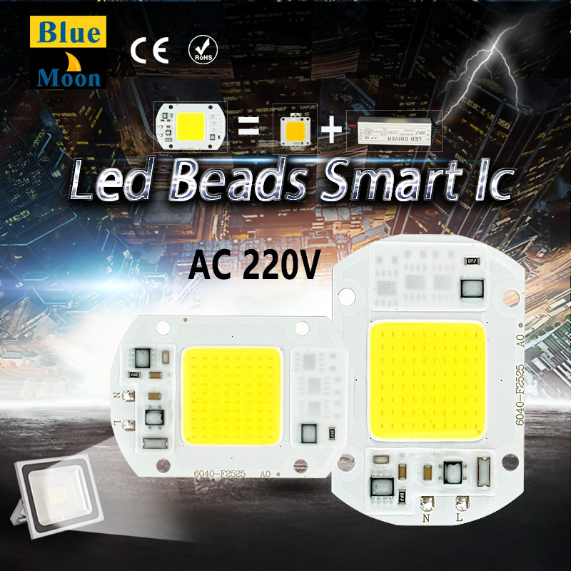 AC220v No need driver LED COB Bulb Lamp 5W 10W 20W 30W 50W LED Chip  Input  Smart IC integrated Driver for flood light<br><br>Aliexpress