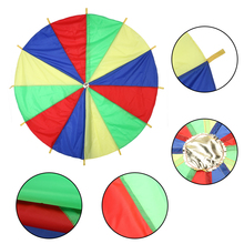 Dia 2m Child Kids Outdoor Rainbow Umbrella Parachute Toy Sports Development Jump-sack Ballute Play Parachute 8 Bracelet
