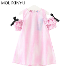 MOLIXINYU 2017 Fashion Child Summer Dress Girls Sweet Stripe Design Dress Kids Ribbon Rosette Girls Dress Soft Cute Clothes(China)