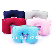 neck pillow Inflatable pillow u travel pillow airplane Flock face u health care pillow hot sale black blue red