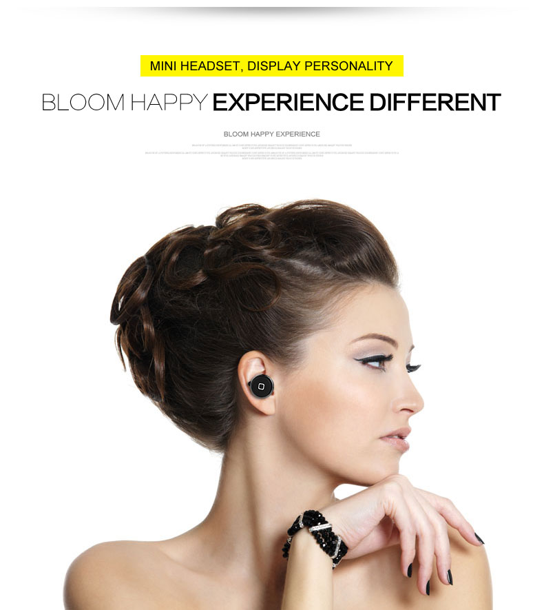 TYAYA Mini Wireless Bluetooth Earphones Single Stereo Earphones Headsets with Mic for Smartphones Tablets HIFI