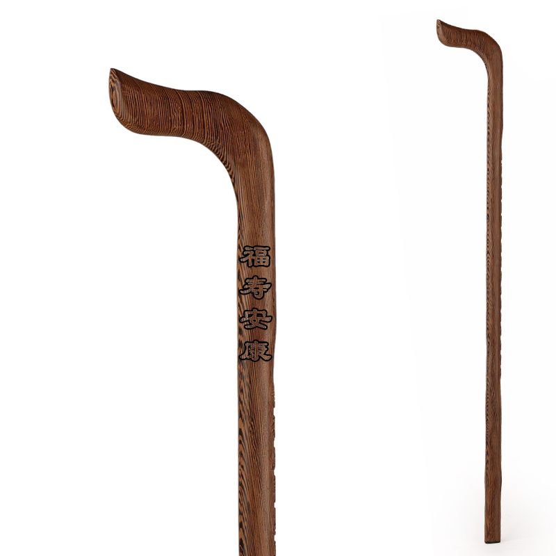 The old mahogany wood cane cane TZ Zhai elderly chicken wing wood relief engraving crutch<br>