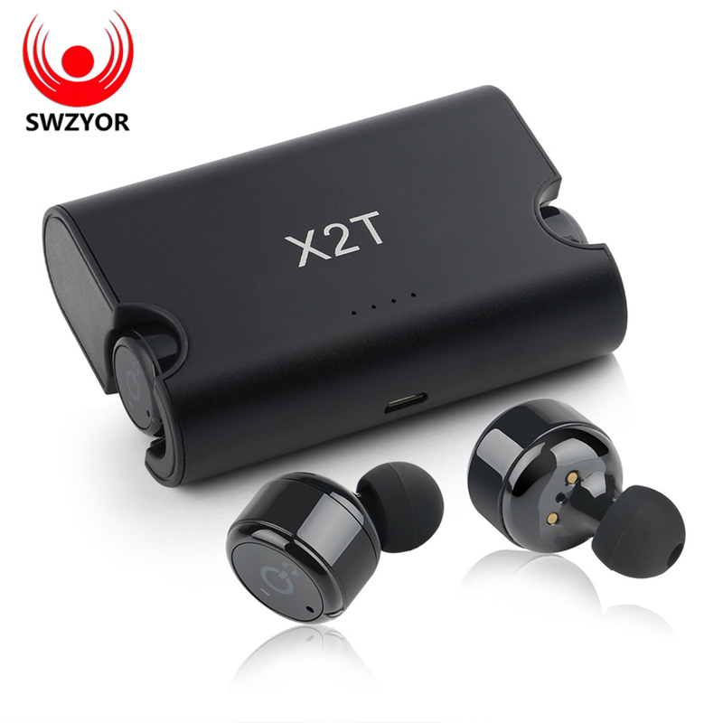 SWZYOR X2T Wireless  TWS Mini Sport  Earphone Bluetooth 4.2 Stereo Headset 1500mAH Charger Box for iphone and andriods<br>