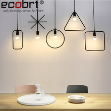 ECOBRT Vintage Loft Pendant Lights Lamps Modern Industrial iron haning lights fixtures in Living Room Black color(China)