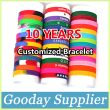 Customized Silicone Bracelet Wristband Embossed/Debossed/Filling Color/Print Free Shipping by DHL Quantity Over 100 Pieces