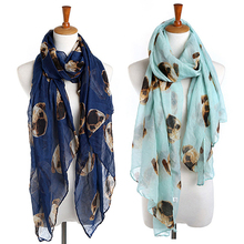 Women Fashion Long Cute Pug Dog Head Print Scarf Wraps Shawl Soft Scarves(China)