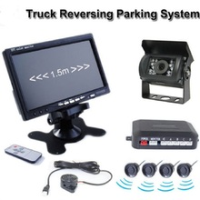 MKSUP Car Monitor Rearview Kit 7 Inch LCD TFT Colorful Monitor 18 LED Reverse Camera 4 Parking Sensor For Truck/Car 120 Degree