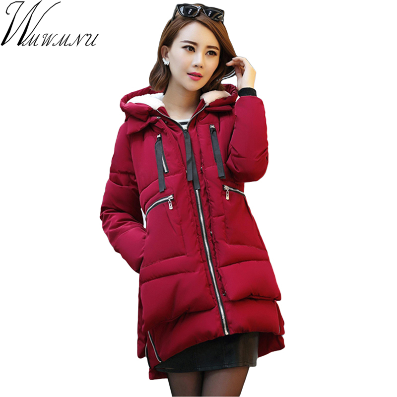 Wmwmnu 2017 Women winter jacket coat Five Colors Lambswool Hooded Coat Woman Clothes Winter Jacket with pocket parkas ls554Îäåæäà è àêñåññóàðû<br><br>