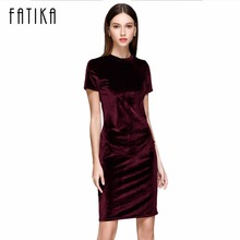 FATIKA 2017 Summer Short Sleeve Velvet Short Casual Women Dress Fashion Women Clothing Elegant Bodycon Party Dresses(China)