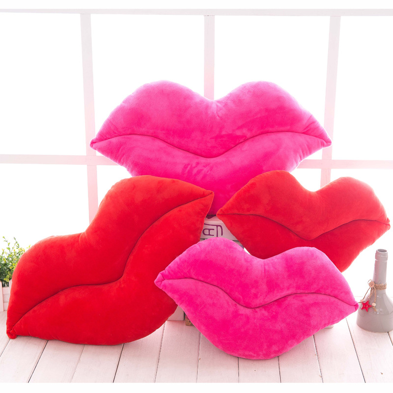 2 Sizes Hot Red Lip Shape Sofa Cushion Toy Doll Car Airplane Embrace Cushion Gift Birthday TV Room Bedroom Office Throw Pillow 2