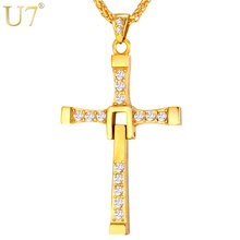 U7 Stainless Steel Cross Necklace Wholesale Gold Color Classic Fast and Furious Christian Cross Men Jewelry P655(China)